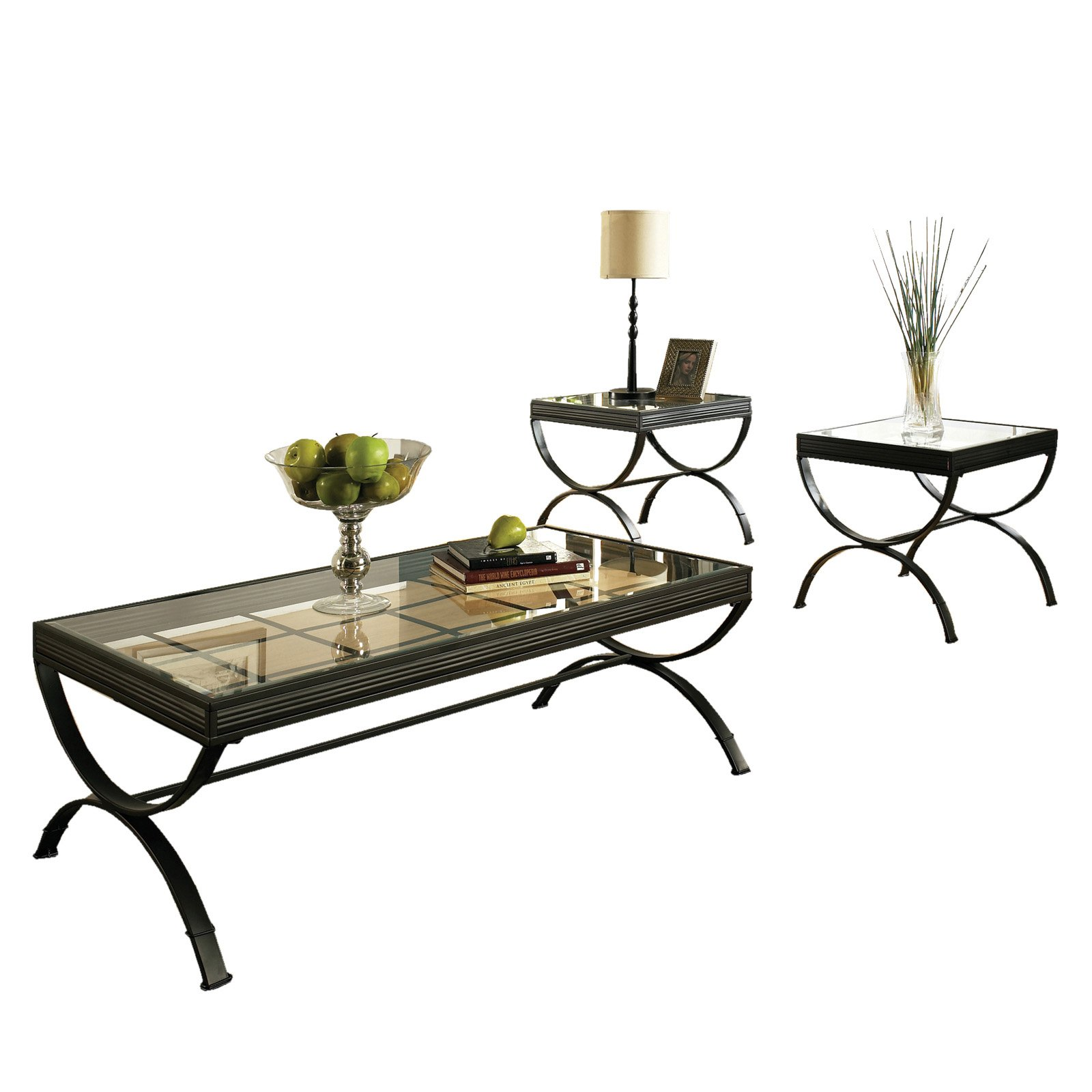 Superb Steve Silver Emerson Rectangle Glass Top 3 Piece Coffee Table Set   Black