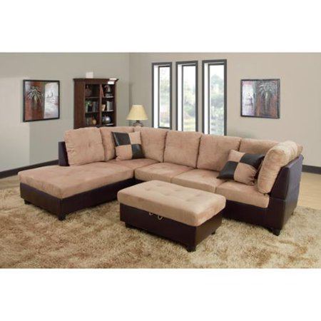 Delima Light Brown Microsuede 3 Piece Sectional Set Left Chaise Sofa St