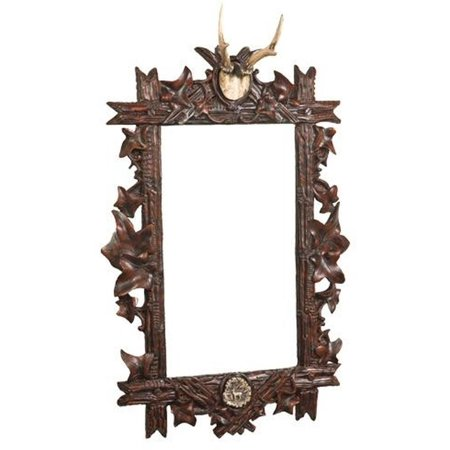 - Wall Mirror MOUNTAIN Rustic Roe Deer Antler Stag Leaves Leaf Rectangular OK-1228