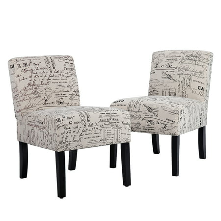- Accent Chair Sofa Club Side Upholstered Letter Print Fabric Armless Living Room Chairs, Set Of 2