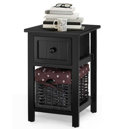 Gymax 2 Tier Mini Nightstand 1 Drawer Bedside End Table Organizer Wood W/Basket Black (1 Drawer Nightstand)