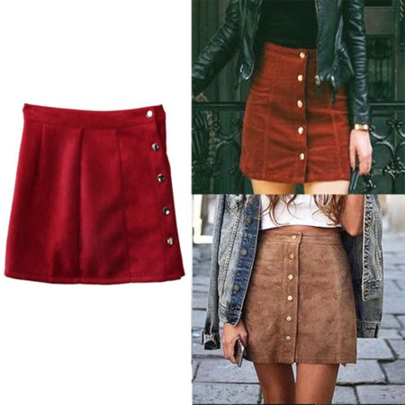 US Fashion Womens Lady High Waisted Pencil Skirt Bodycon Button Suede Mini