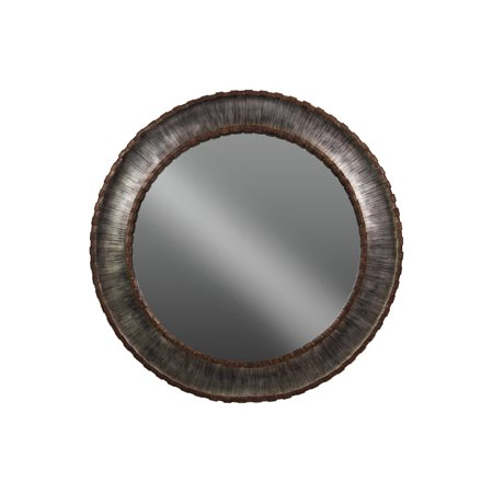 Metal Round Wall Mirror with Sunburst Design Frame - (silver) - Benzara