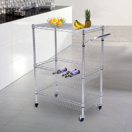 Tenive Chrom 3-Tier Kitchen Cart Trolley Wire Rolling Utility Storage Rack Food Service