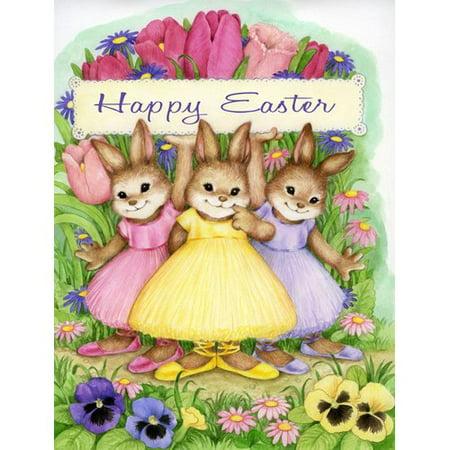 Caroline's Treasures Three Bunnies Happy Easter 2-Sided Garden Flag