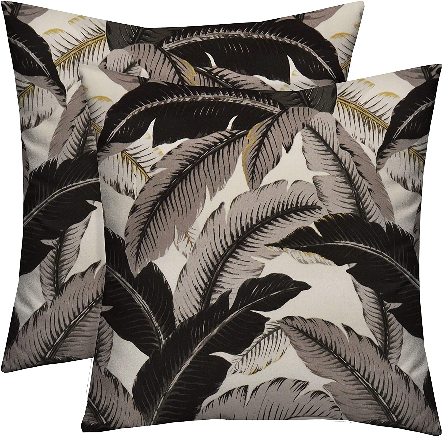 Rsh Décor Indoor Outdoor Made With Tommy Bahama Prints Set Of 2 Square Pillows Weather Resistant 17 X 17 Swaying Palms Onyx Black Tropical Leaves Walmart Com Walmart Com