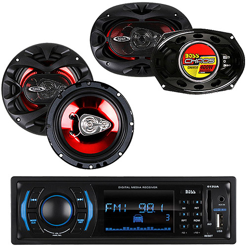 Car Stereo Single DIN Receiver & (4) Speakers Bundle, From Boss, Pioneer, Sony & more