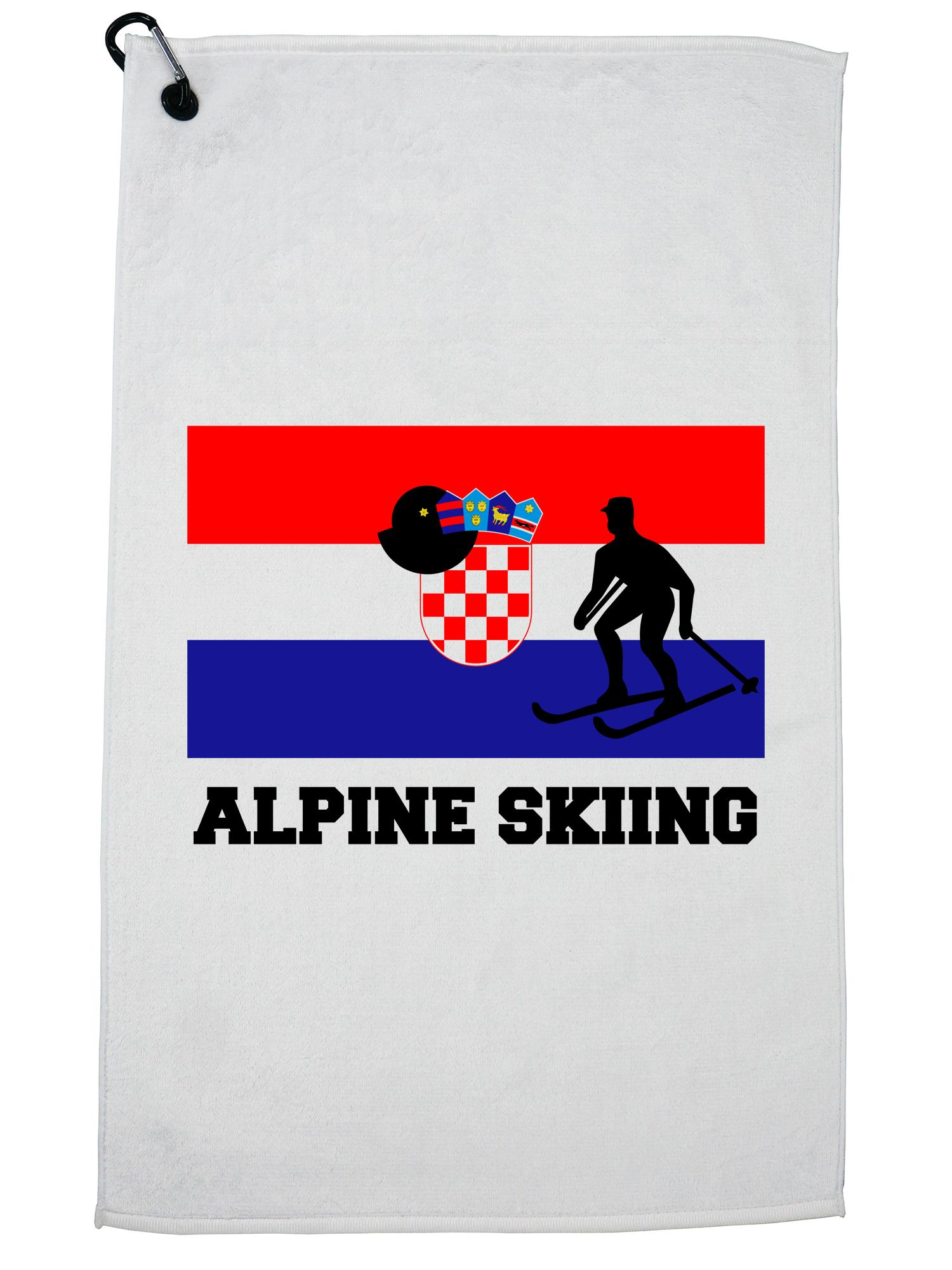 Croatia Olympic Alpine Skiing Flag Silhouette Golf Towel with Carabiner Clip by Hollywood Thread