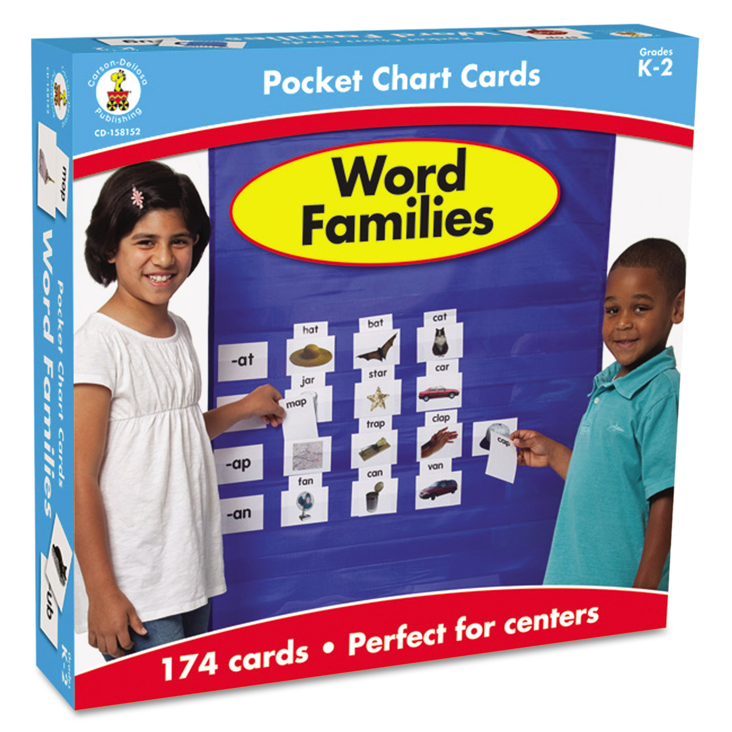 Carson-Dellosa Publishing Word Families Cards for Pocket Chart, 4 x 2 3/4, 164 Cards, Ages 4-5 CD-158152