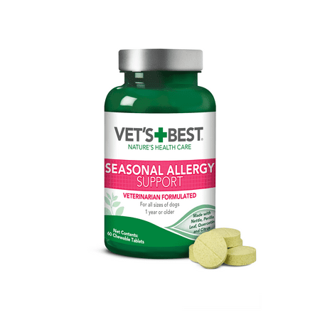 Vet's Best Seasonal Allergy Relief | Dog Allergy Supplement | Relief from Dry or Itchy Skin | 60 Chewable (Best Dog Coat Supplement)
