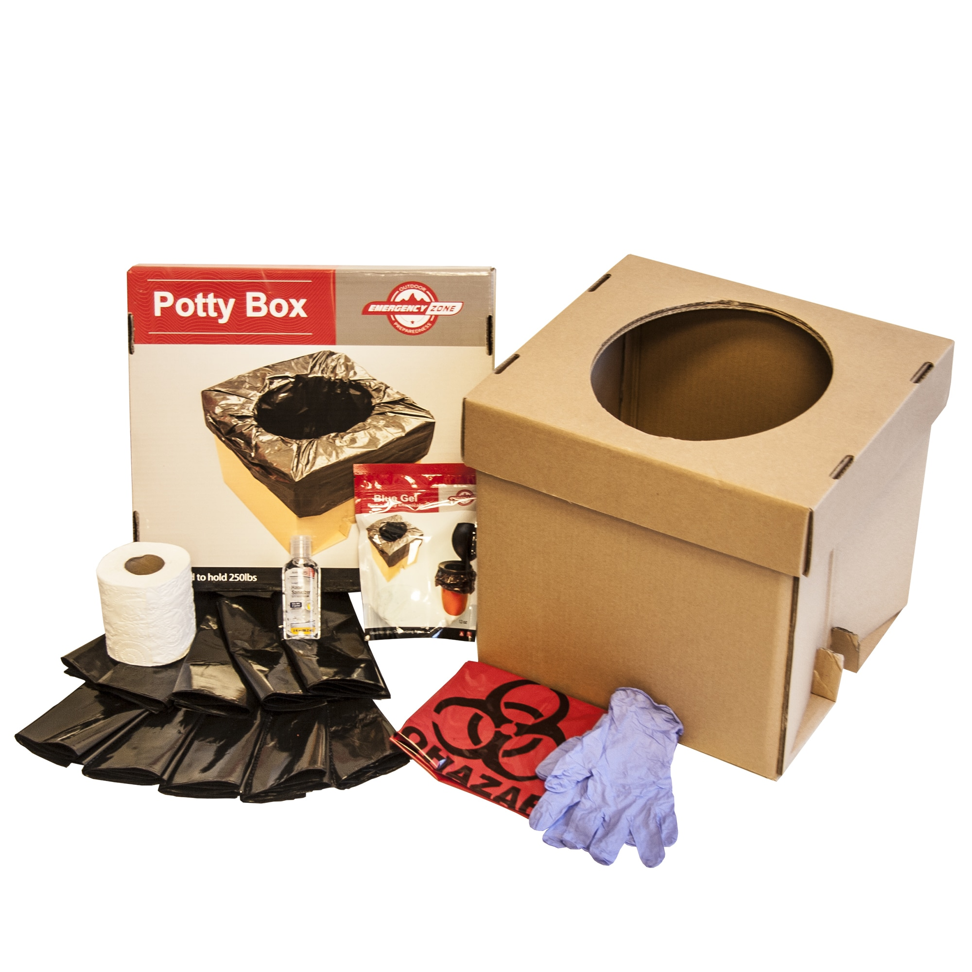 Potty Box, Portable Collapsible Toilet with Liners and Toilet Chemicals, Emergency Zone