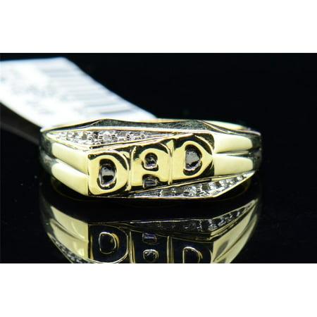 Diamond DAD Pinky Ring Men's 10K Yellow Gold Round Fashion Black Enamel Band (10k Dad Ring)