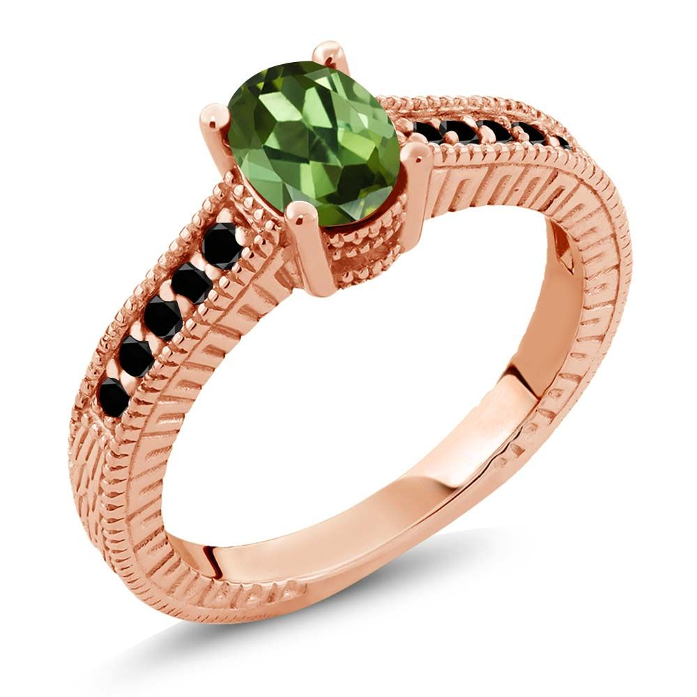 1.18 Ct Oval Green Tourmaline Black Diamond 14K Rose Gold Engagement Ring by
