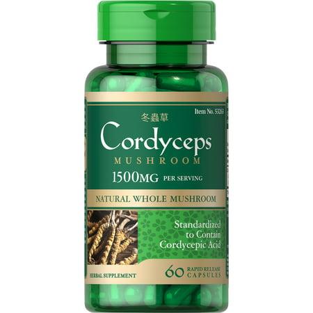 Puritan's Pride Cordyceps Mushroom 750 mg-60 Capsules (Cordyceps Mushroom)