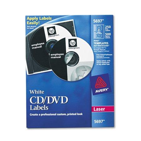 Avery Laser Cd Labels  Matte White  250 Pack