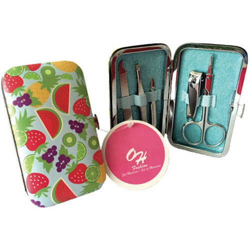 "OH Fashion Manicure Set & Pedicure set ""Fruits pattern"" Nail clipper cuticle pusher tweezer nail scissors 5 pc in one travel case"