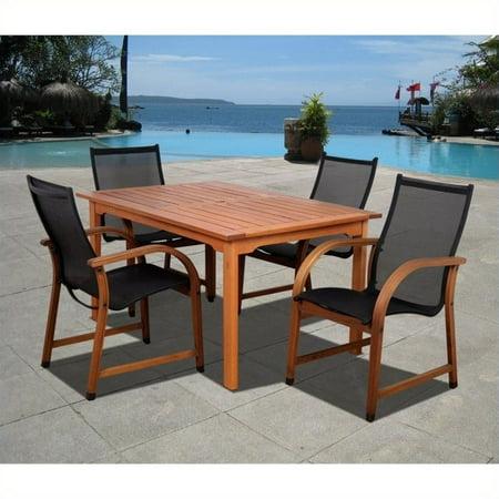 Bahamas 5-Piece Eucalyptus Rectangular Patio Dining Set, Black Bahamas 9 Piece Eucalyptus
