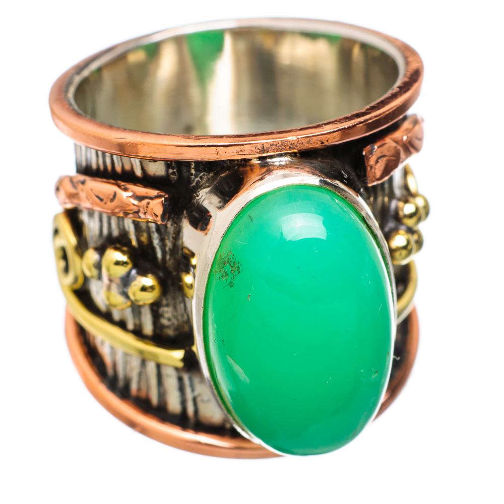 Ana Silver Co Large Chrysoprase 925 Sterling Silver Ring Size 6.75 Handmade Jewelry RING831618 by Ana Silver Co.