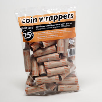 COIN WRAPPERS - QUARTER 36 COUNT COIN TUBES, Case Pack of 50