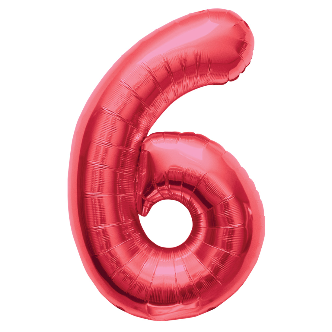 """Northstar Solid Color Number 6 Jumbo Helium Shape 34"""" Foil Balloon, Red"""