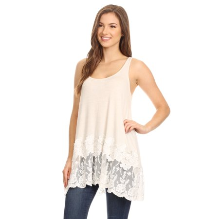Womens Summer Casual Flowy Fit Long Tunic with Lace Trim Tank (Lace Long Tunic)