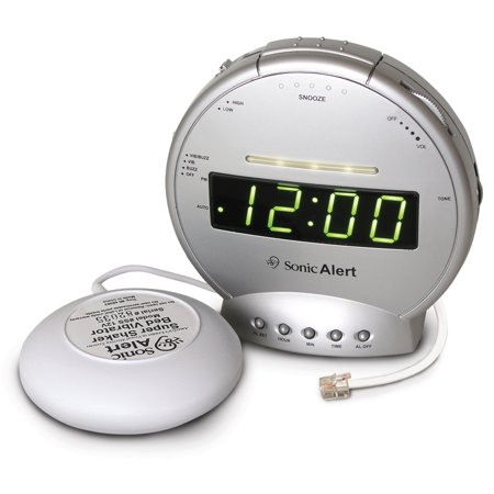 Sonic Alert SBT425SS Sonic Bomb Alarm Clock with Telephone Signaler and Super Shaker ()