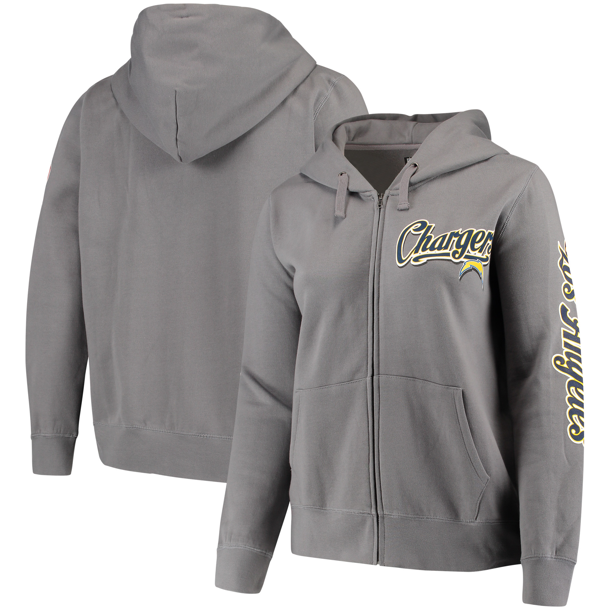 Los Angeles Chargers 5th & Ocean by New Era Women's Plus Size Script Full-Zip Hoodie - Charcoal