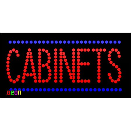 "19""x9.5"" Neon By Deon Cabinets LED Sign with Border w/Flashing Controller"