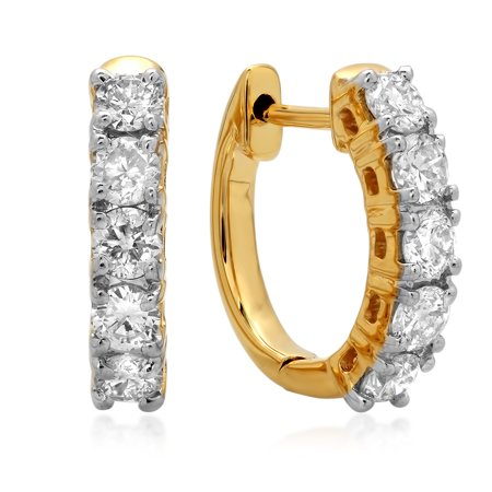 0.50 Carat (ctw) 18K Yellow Gold Real Round Cut White Diamond Ladies Huggies Hoop Earrings 1/2 (18k Yellow Gold Plain Dome)