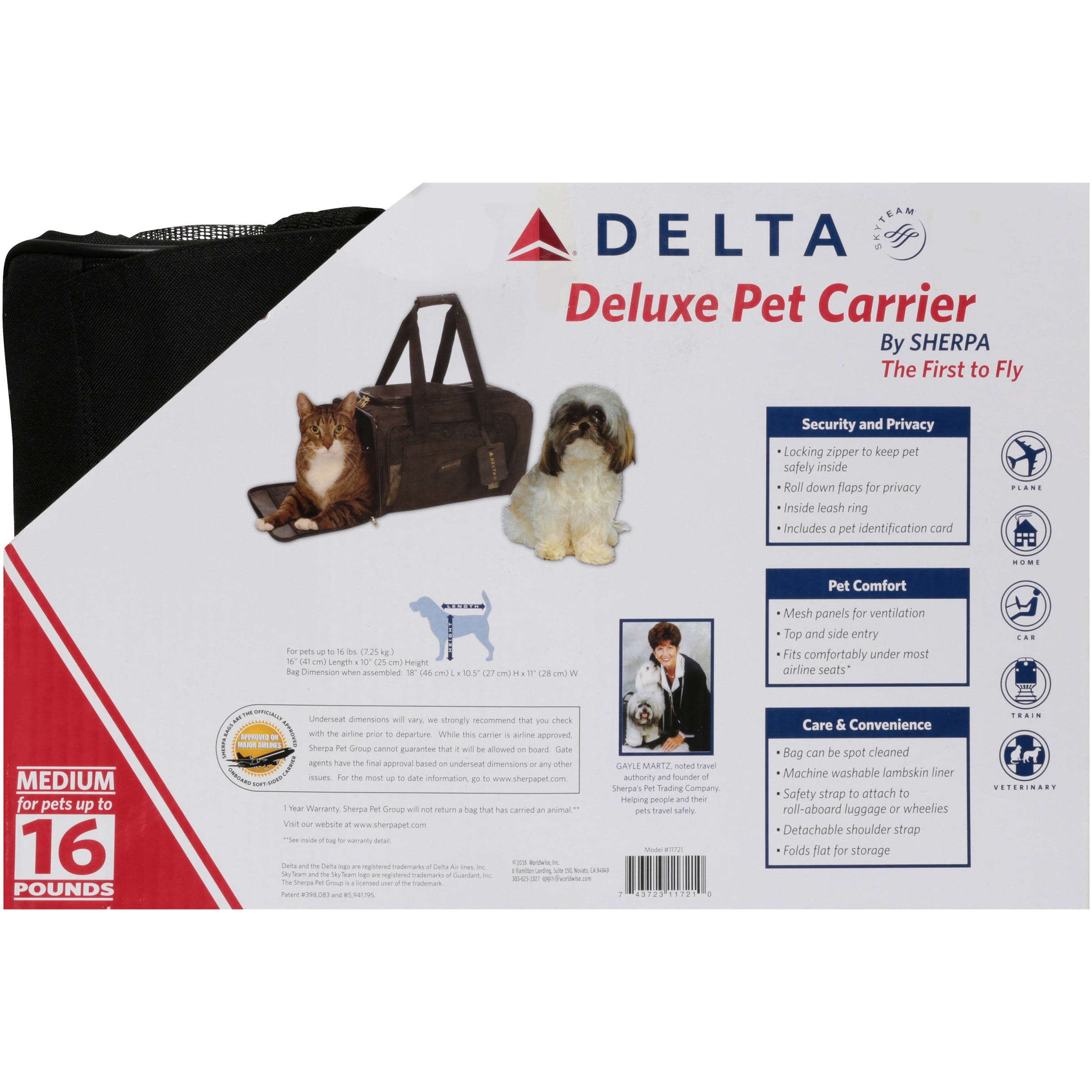 f66b93b331 Sherpa Delta Black Portable Airlines Pet Carrier Medium Storage Carrier nEW