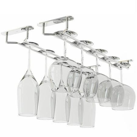 Stemware Wine Glass Rack Hanger Under Cabinet Storage Chrome Finish 17 1/2 Inch Set of 2
