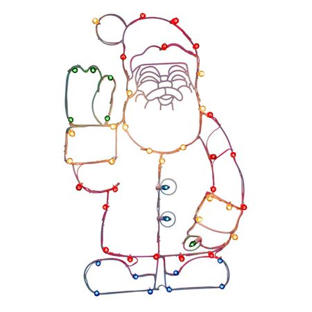 Waving Santa C7 Wire Motif Lighted Decor with Multi-Colored Lights, 48 x 30 in. - image 1 of 1