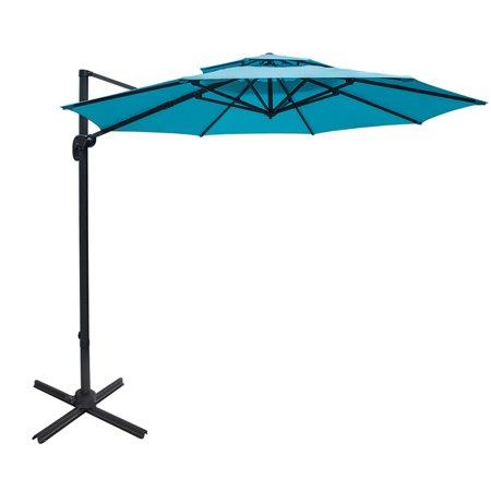 Sundale Outdoor 11 ft Offset Hanging Umbrella Market Patio Umbrella Aluminum Cantilever Pole w/Stylish Dual Wind Vent, Cover, Crank Lift and Cross Frame, 360°Rotation, for Garden, Deck,Backyard, Blue ()