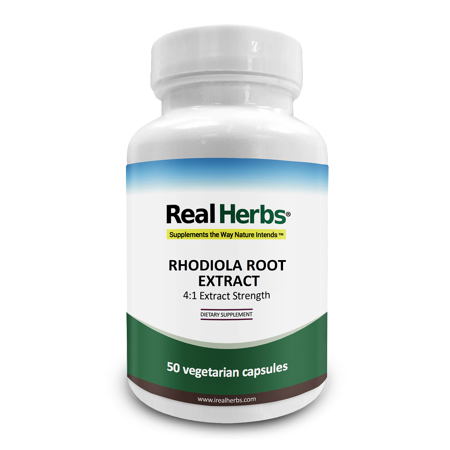 Real Herbs Rhodiola Rosea Extract - Derived from 2,800mg of Rodiola Rosea Root with 4:1 Pure Extract Strength - Essential Supplement to to promote physical/cognitive vitality - 50 Vegetarian