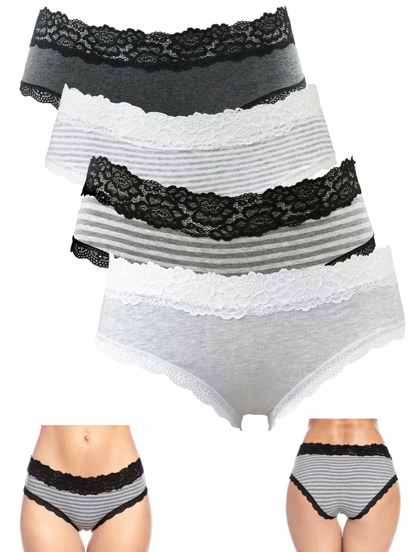 Womens Underwear Cotton Lace-Trim Bikini Panties Pack