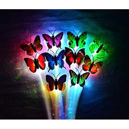Butterfly LED Fiber Optic Light-Up Hair Barrette - Rainbow For Concert and - Concert Led