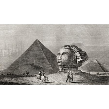 The First And Second Pyramid Of Gizah Ancient Memphis And Head Of The Colossal Sphinx Engraved By Scott After Clennell From The Book The Gallery Of Nature And Art Volume Ii Published London C1823 Post