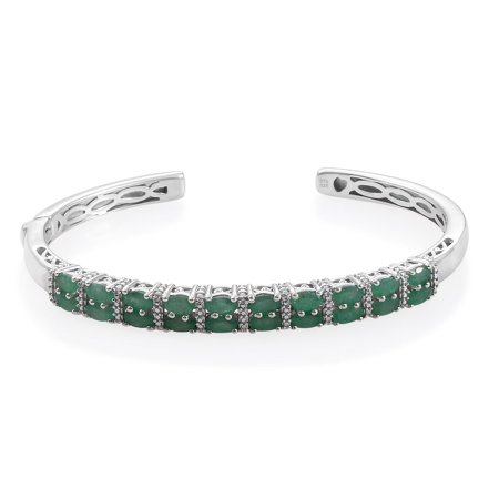 925 Sterling Silver Platinum Plated Oval Emerald Cuff Bangle Bracelet Anniversary Jewelry for Women Size 7.25