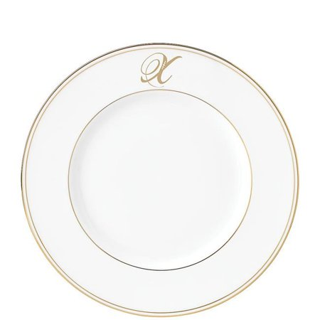 Lenox 870096 9 in. dia. Federal Gold Monogram Script DW Accent Plate - X