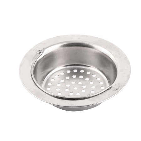 Kitchen Stainless Steel Basin Drain Sink Strainer Silver Tone 11cm Outer - Silver Drain