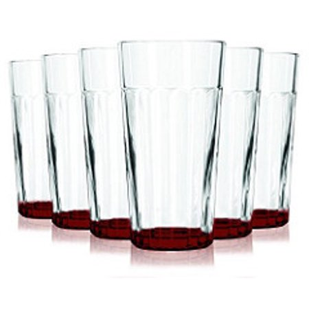 Red Libbey Jumbo Cooler Glass with Beautiful Colored Accent with 16 oz Capacity - Set of 6 - Additional Vibrant Colors Available by TableTop King