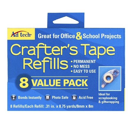 Adtech Crafters Tape Refills, 8pk refill tape for the Crafters Tape Runner By Ad-Tech Ship from