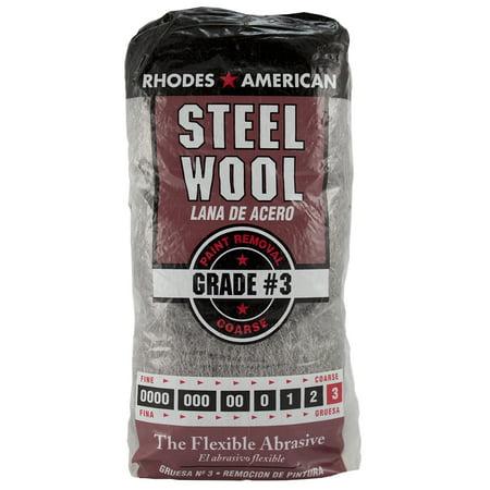 (5 Pack) Rhodes American Steel Wool, Course Grade #3,12pad Rhodes Steel Wool