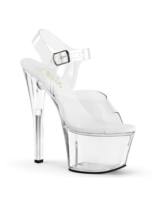 """SKY-308VL Pleaser Platforms Exotic Dancing 7"""" - 7 1/2"""" Heel Clr/Clr Size: 10"""