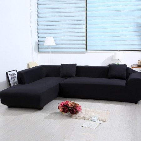 - Universal Sofa Cover for L Shape, 2pcs Polyester Fabric Stretch Slipcovers + 2pcs Pillow Covers for Sectional sofa L shape Couch (Black)