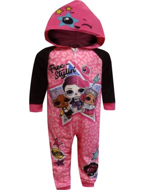 AME Sleepwear Girls' LOL Surprise Free Stylin' Blanket Sleeper Hooded One Piece Pajama