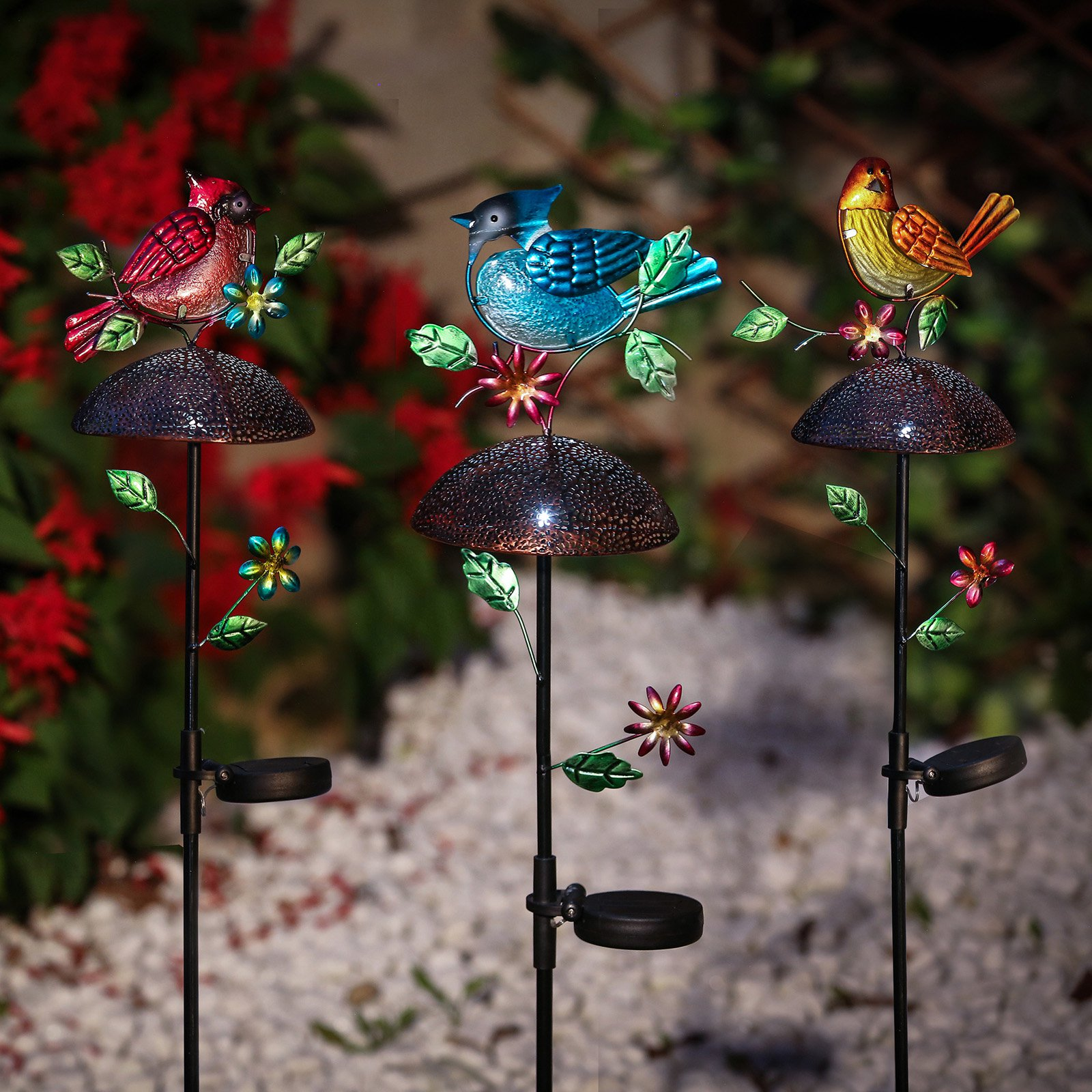 Set of 3 Bird Solar Light Garden Stakes by Winsome House