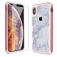 For Apple iPhone Xs Max Case, OneToughShield ® ShockProof 3-Layer Protector Phone Case (Rose Gold Color) with Tempered Glass Screen Protector - Marble / Clouds
