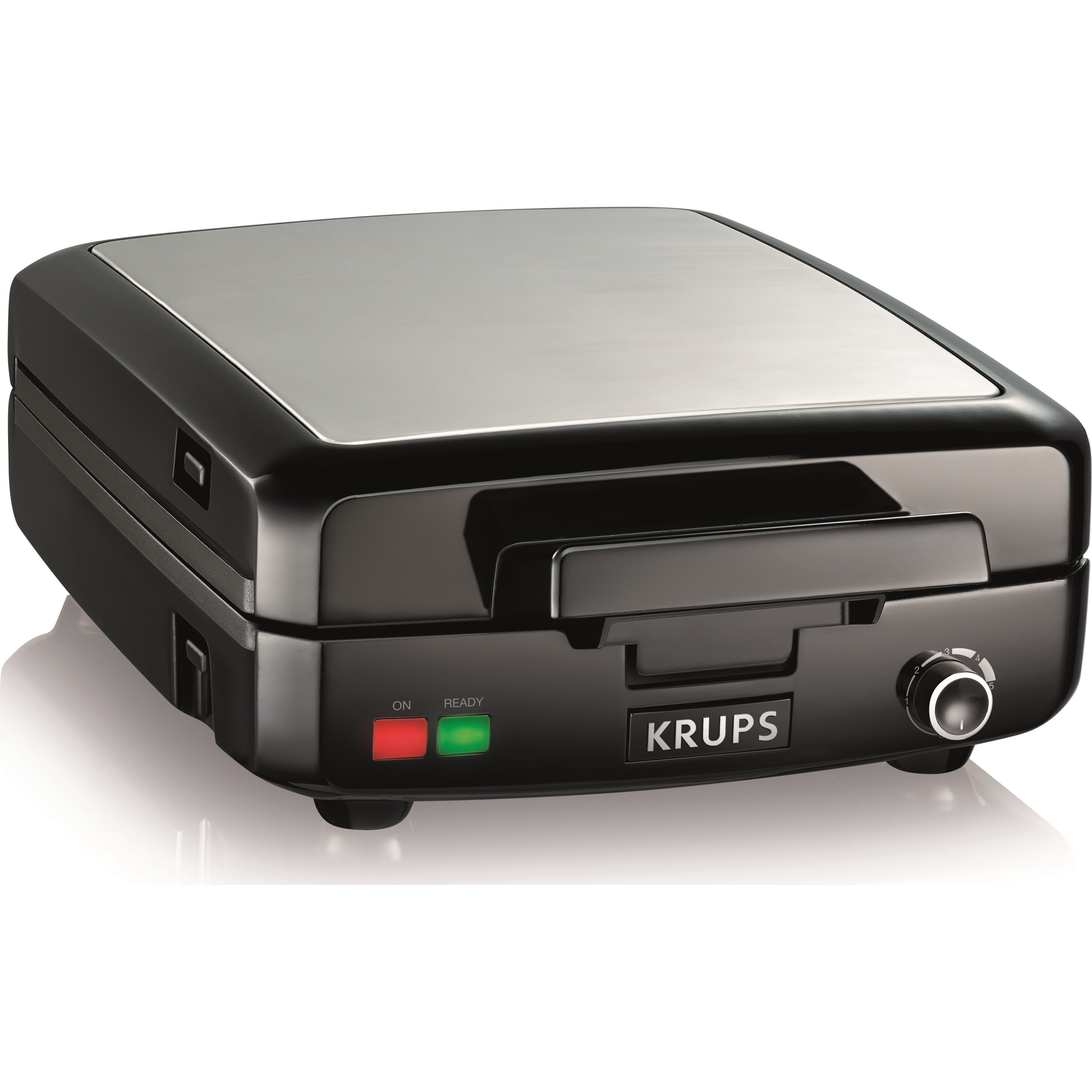 KRUPS, GQ502D51, 4-Slice Belgian Waffle Maker With Removable Plates, Stainless Steel