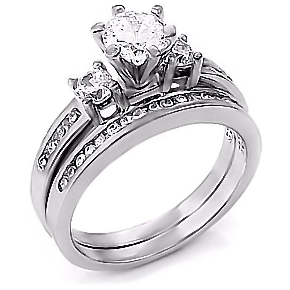 Lakoda Stunning 131ct Ice on Fire CZ 2 Piece Wedding Ring Set 925